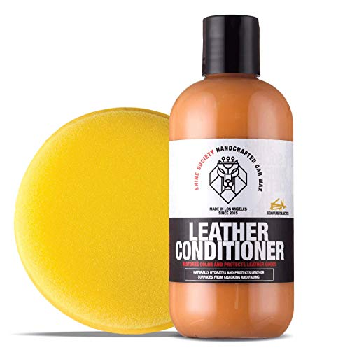 Shine Society Leather Cream Restorer and Conditioner with Foam Applicator Pad (8 oz) (Leather Protector Purse)