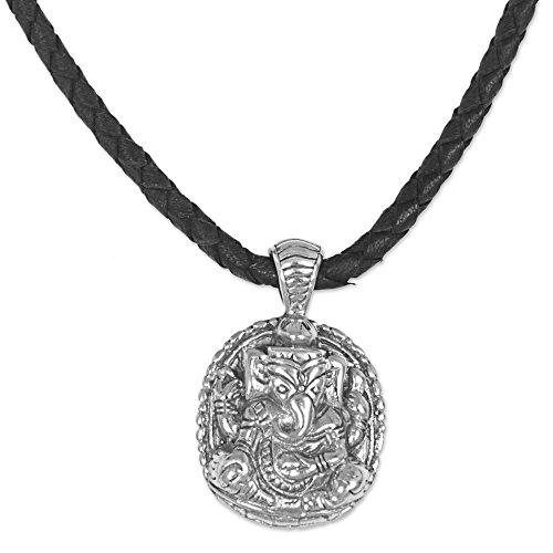 NOVICA .925 Sterling Silver Leather Pendant Necklace 'Meditating Ganesha'