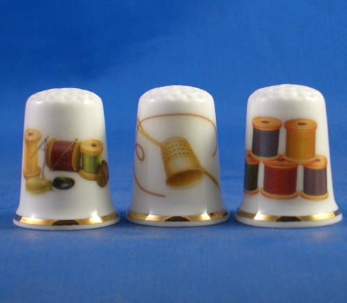 Porcelain China Collectable Thimbles - Set of Three Sewing Collection