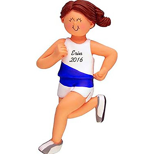 Runner Personalized Christmas Ornament - Marathon - Girl - Brown Hair - Handpainted Resin - 4.5