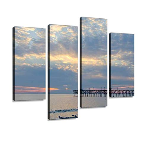 Cloud Burst Sunset at Long Beach Canvas Wall Art Hanging Paintings Modern Artwork Abstract Picture Prints Home Decoration Gift Unique Designed Framed 4 Panel ()