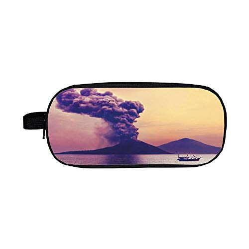 Pencil case High-Capacity,Volcano,Dangerous Natural Activity in Anak Krakatau Indonesia Mountain with Smoke Decorative,Purple Coral Mustard,Diversified Design