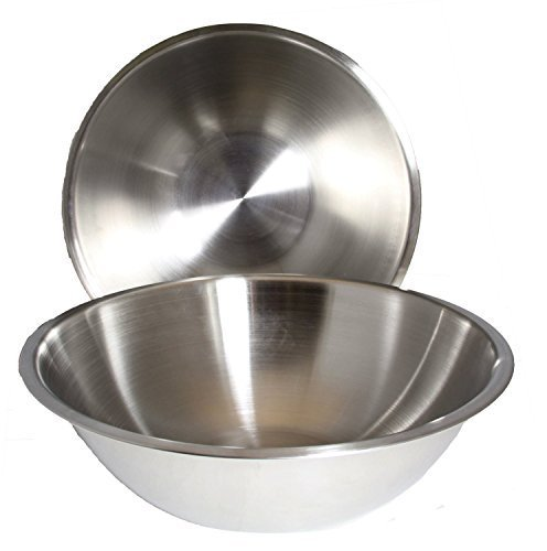 SET OF 12 - Large 13 1/4 Inch Wide Stainless Steel Flat Rim Flat Base Mixing Bowl
