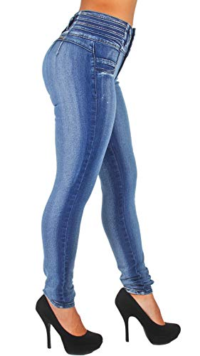 Style K064- Colombian Design, Mid Waist, Butt Lift, Levanta Cola, Skinny Jeans in Washed Blue Size 5 (Best Jeans To Lift Buttocks)