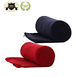 E-Onfoot Warm Cozy Microfiber Fleece Zippered Sleeping Bag Liners (Red/Navy Blue)