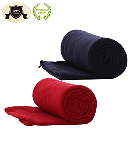E-Onfoot Warm Cozy Microfiber Fleece Zippered Sleeping Bag Liners (Red/Navy Blue)