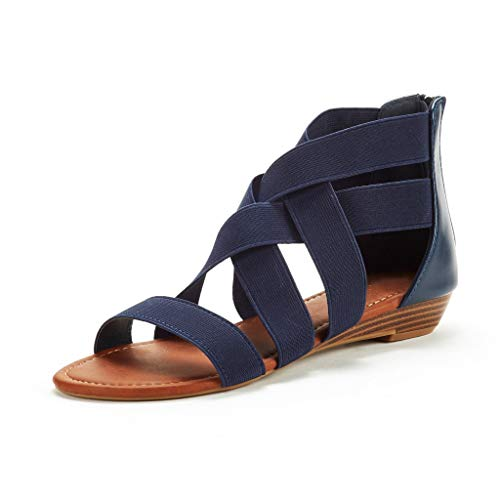 - Sanyyanlsy Women Cross Stretch Fabric Hollow-Out Sandals Flat Low Heel Sandals Zipper Wedage Gladiator Ankle Shoes Blue