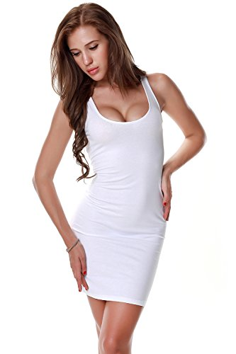 PINKPHOENIXFLY Women's Sexy Low Cut Cotton Mini Tank Dress/Vest (X-Large, (Sexy Low Cut White Dress)