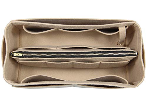([Fits Neverfull MM/Speedy 30, Khaki] Purse Insert (3mm Felt, Detachable Pouch w/Metal Zip), Felt Tote Bag Organizer)
