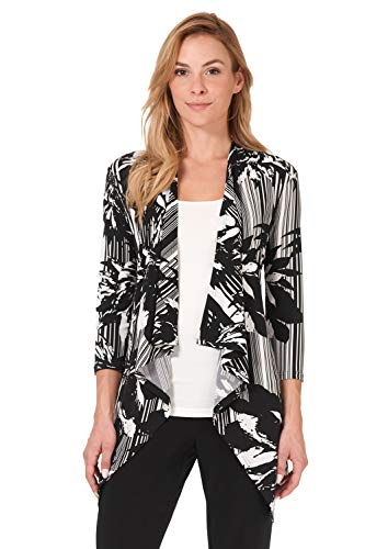 Closure Womens Jackets - Rekucci Travel in Style - Women's Essential Fluid Throw Over Jacket (X-Large,Black/Ivory Blooming Stripe)
