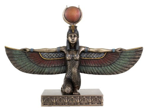 10 Inch Egyptian Winged Isis Kneeling Figurine Statue Ancient Goddess Justice (Isis Winged)