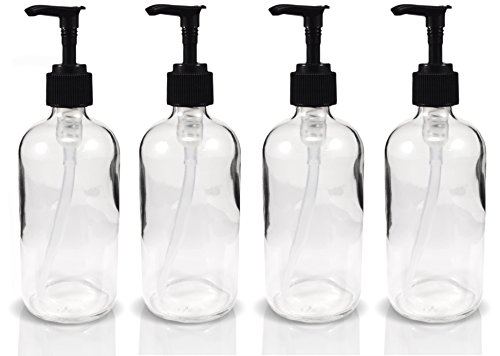 8oz Clear Glass Boston Round Pump Bottles, Great as Glass (Lotion Dispenser)