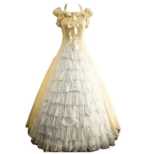 Cheap Victorian Dress (Partiss Women Bowknot Floor-length Ruffles Gothic Victorian Lolita Dress, M, Champagne)