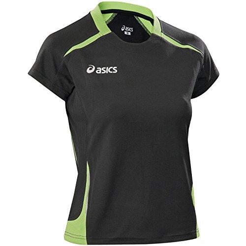 ASICS T-shirt donna atletica running traspirante MERLENE nero lime T249Z6, Taglia: S