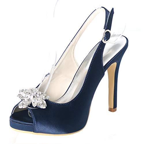 Aiguille Mariage Seraph Strass Ankle Strap Satin Bleu Avec Talon Sandale De 6041 En 10a Chaussures Décolleté Femme SqwxqzTOA