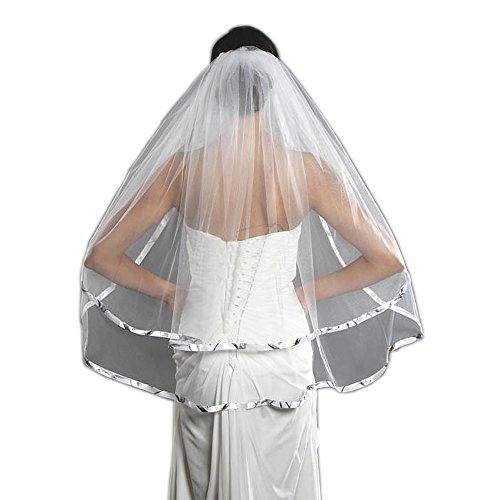 iLovewedding Bridal Veils Camo Wedding Veil for Bridal Wedding Dress Accessories (White)]()