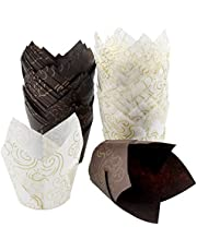 AvoDovA 100PCS Baking Cake Cups, 2 Colors Cupcake Muffin Liners Wrappers Paper Cups, Tulip Style Muffin Baking Cup Paper Cupcakes for Wedding, Birthday, Baby Showers, Coffee Shop