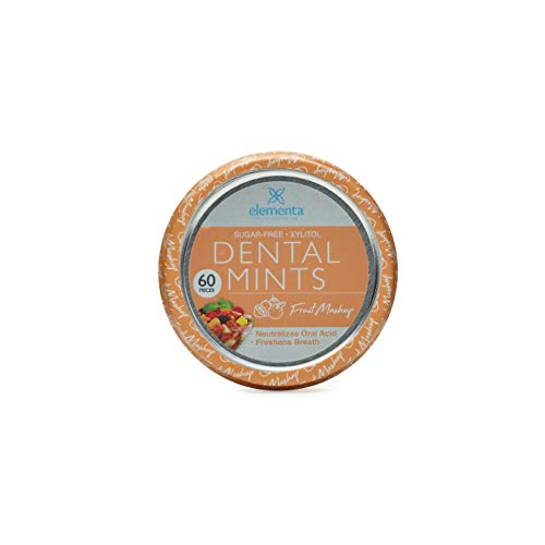 Elementa Natural Sugar-Free Breath Mints for Oral Care – Fruit Mashup | 60 Pcs | Non-GMO + Vegan Friendly, Neutralizes Oral Acid, Soothes Dry Mouth