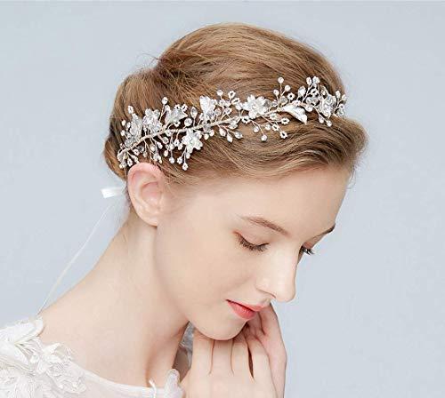 SWEETV Silver Bridal Headband Rhinestone Headpieces Hair Vine for Brides Wedding Hair Accessories - Pieces Headpiece