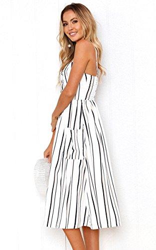 Angashion Women's Dresses-Summer Floral Bohemian Adjustable Spaghetti Strap Button Down Swing Midi Dress with Pockets 6