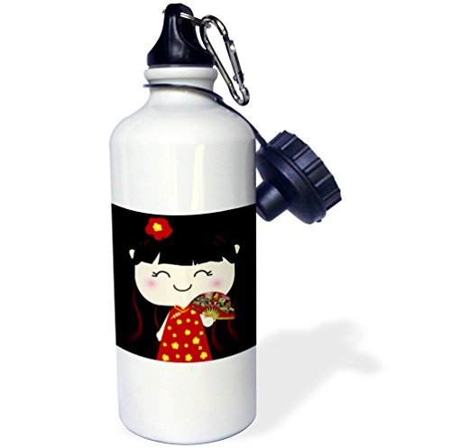 3dRose wb_76679_1 ''Cute Kawaii Cartoon Japanese Chinese Girl Doll in traditional red gold Dress and fan japan china'' Sports Water Bottle, 21 oz, White by 3dRose