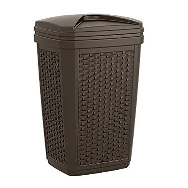 Suncast BMWC3007 Resin Wicker Trash Hideaway, 30 gallon, Java