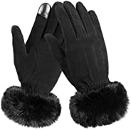 Warm Gloves Touch Screen Glove with Thermal Cashmere and Windproof Deerskin Suede Leather - Hands Warmer in Co