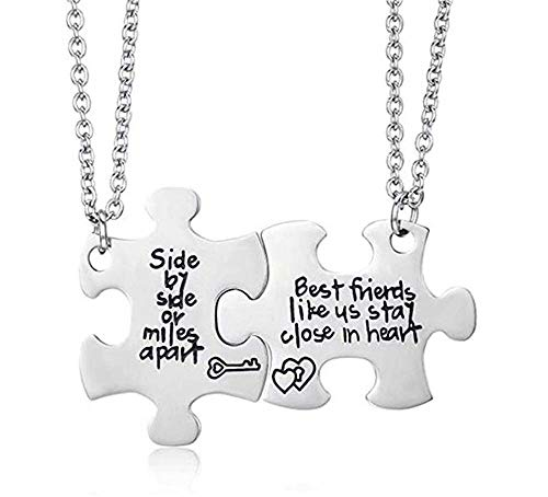 MJartoria 2 Pcs Best Friend Necklaces Side by Side Or Miles Apart Best Friend Necklaces Puzzle Piece Necklaces Heart for Teen Girls BFF Friendship Necklaces for 2 BFF Gifts