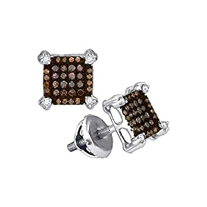 Cognac and White Diamond Fashion Earrings in 10K White Gold (1/4 cttw)