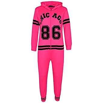 Kids Girls Boys Chicago 86 Onesie All in One Summer Jumpsuit PJ's Age 7-13 Years Neon Pink