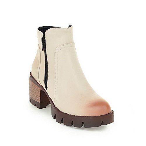 BalaMasa Womens Chunky Heels Platform Zipper Imitated Leather Boots Beige WvagOUuU