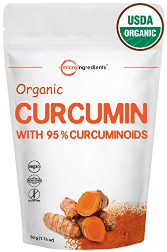 Maximum Strength Organic Pure Curcumin 95% (Natural Turmeric Extract) Powder, Rich in Antioxidants & Water Soluble Supplements for Joint Support, 50 Gram. Vegan Friendly.