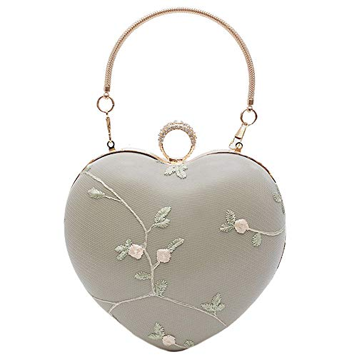Mily Heart Shape Clutch Bag Messenger Shoulder Handbag Tote Evening Bag Purse (T-Matcha)
