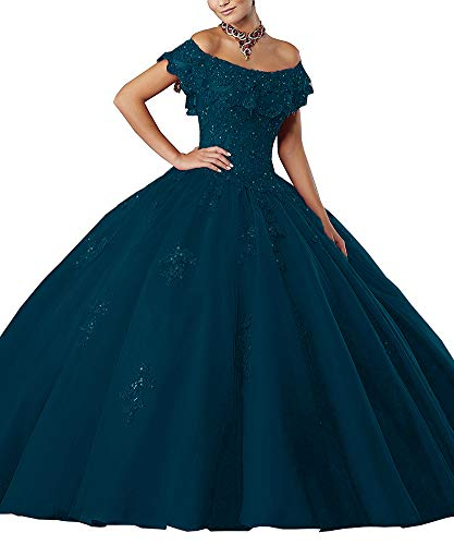 XSWPL Women's Off-Shoulder Lace Applique Sweet 16 Prom Quinceanera Dress_Teal_US24 -