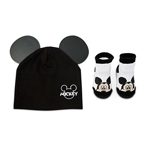 Disney Baby Boy's Mickey Mouse Cotton Hat and Terry Booties Gift Set Sockshosiery, black, white, 0-12M -