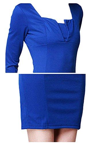 Di Dell'anca Gonna Abbigliamento Blu Matita Curva Fuori Maniche Lavorare Pacchetto Di Mezze Amystylish Vestito Femminile Reale EgqCAxxPw