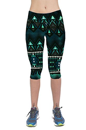 (Womens Printed Active Workout Capri Leggings Outfit Stretch)