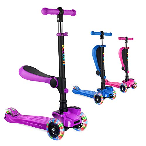 OUTON Kick Scooter for Kids with Removable/Folding Seat, 2 in 1 Scooter for Toddlers Girls & Boys, Adjustable Height, LED Light Up Wheels for Children Ages 2-13 (Purple)