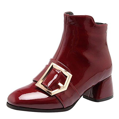Latasa Donna Brunito Tacco Alto Stivaletti Alla Caviglia Claret-red