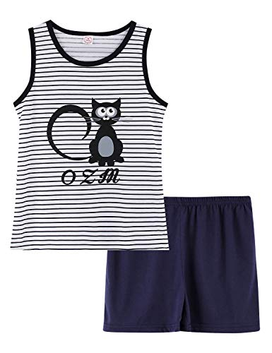 Tween & Teens PJS for Girls Big Kids Cute Sleeveless Tank Top & Shorts Pajama Set Black Cat Size - Pajamas Tank Girls