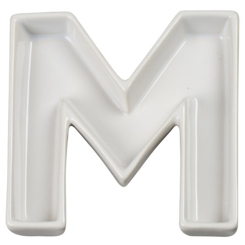 White Candy Dish - Ivy Lane Design Ceramic Love Letter Dish, Letter M, White