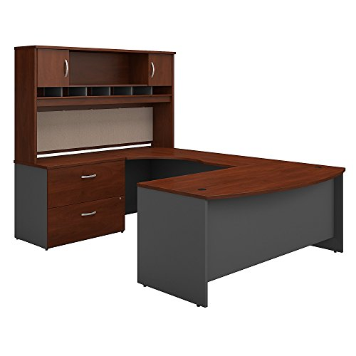 Bush Business Furniture Series C 72W Left Handed Bow Front U Shaped Desk with Hutch and Storage in Hansen Cherry