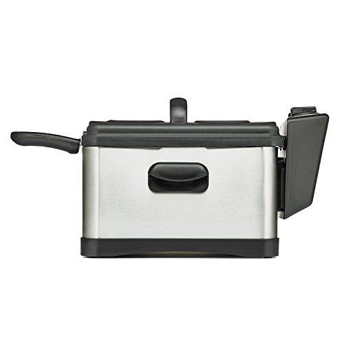 BELLA 14406 Three-Basket Electric Deep Fryer, 4.5 L, Stainless Steel/Black
