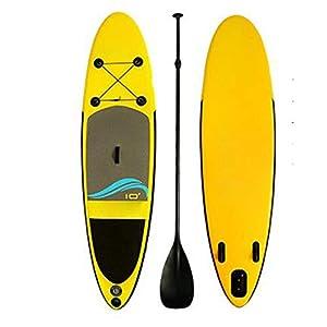 Stand Up Paddel Gonfiabile Fiume adulti galleggiante gonfiabile SUP Stand Up Paddle Board con Carry Bag Kit di riparazione regolabile Paddle Pompa a mano con manometro Giallo per Giovani e Adulti 7 spesavip