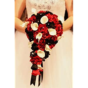 Angel Isabella Build Your Wedding Package-Artificial Flower Bouquet Corsage Boutonniere Rose Calla Lily Red White Black Wedding Theme (Long Cascade Bouquet) 2
