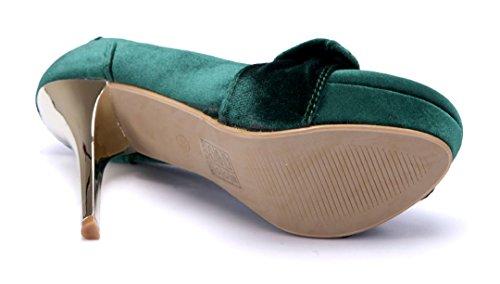 Schuhtempel24 Damen Schuhe Plateau Pumps 12 cm High Heels Grün