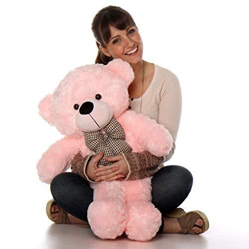 AV TOYS Ambey Enterprises Special Christmas Teddy Bear with Beautiful Bow  Pink, 91 cm/3 Feet