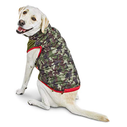 - Reddy Camo Zip-and-Stow Dog Puffer Jacket, X-Large, Green