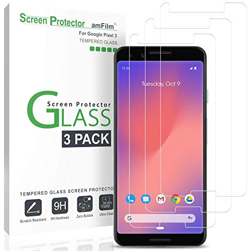 (amFilm Glass Screen Protector for Google Pixel 3 (3 Pack) Tempered Glass Screen Protector)