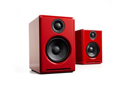 Audioengine A2+ Powered Desktop Speakers (Red) (Radio Pc Frequency Wireless Usb)